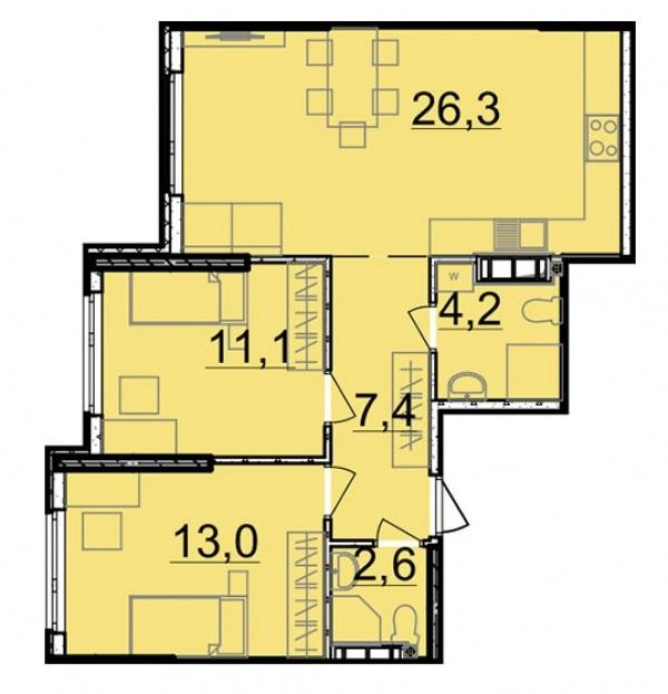 Планировки двухкомнатных квартир 64.6 м^2
